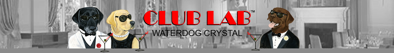 Club Lab Swimming Dog Crystal Glassware by Zeppa Studios